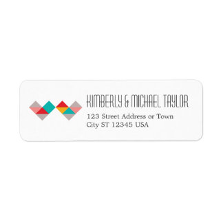 Colorful Geometric Triangle Hearts Wedding Return Address Label