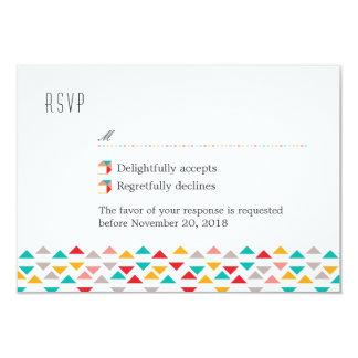 Colorful Geometric Triangle Hearts Wedding RSVP 9 Cm X 13 Cm Invitation Card