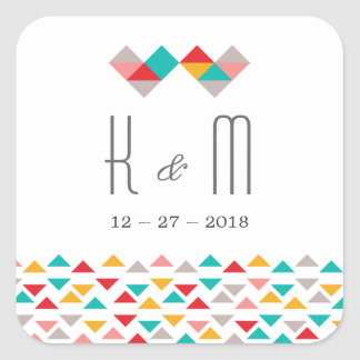 Colorful Geometric Triangle Hearts Wedding Square Sticker