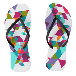 Colorful Geometric triangle pattern Thongs