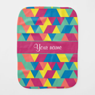 Colorful Geometric Triangles Baby Burp Cloth
