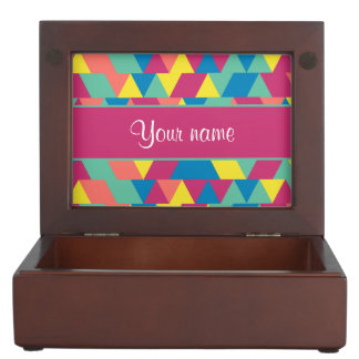 Colorful Geometric Triangles Keepsake Boxes