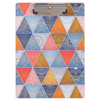 Colorful geometric triangles mandalas pattern clipboard