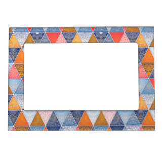 Colorful geometric triangles mandalas pattern magnetic frame