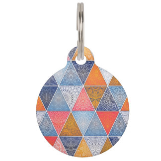 Colorful geometric triangles mandalas pattern pet tag