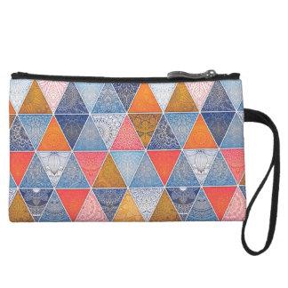 Colorful geometric triangles mandalas pattern wristlet