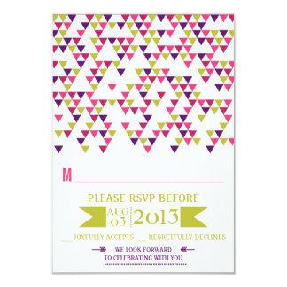 Colorful Geometric Triangles Mod Wedding RSVP Card