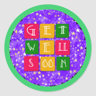 Colorful Get Well Soon Classic Round Sticker