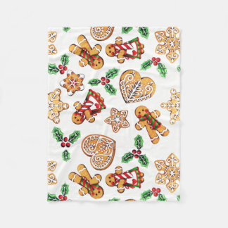 Colorful Gingerbread Cookies and Holly Fleece Blanket