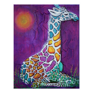 Colorful Giraffe Poster