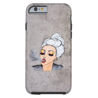 Colorful Girl Blowing Smoke concrete graffiti Tough iPhone 6 Case