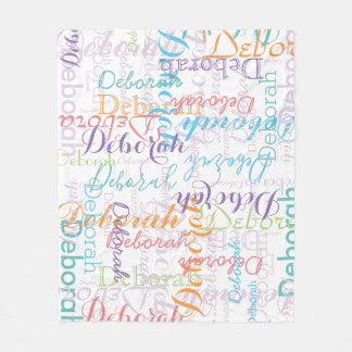 colorful girl name pattern fleece blanket
