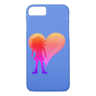 Colorful girl with long curly hair and big heart iPhone 8/7 case