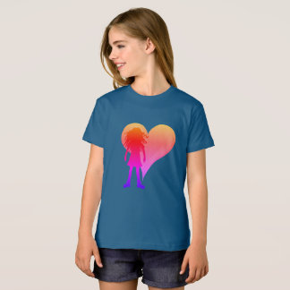 Colorful girl with long curly hair and big heart T-Shirt