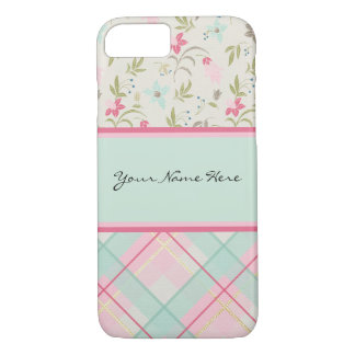 Colorful Girly Flowers and Beautiful Plaid Pattern iPhone 8/7 Case