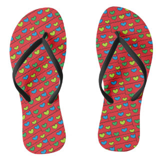 Colorful Girly Hearts Pattern Red Flip Flops
