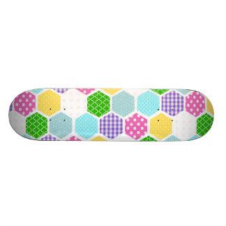 Colorful girly honeycomb pattern skateboards