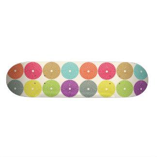 Colorful Girly Spring Pastel Circle Disks Pattern Skate Decks