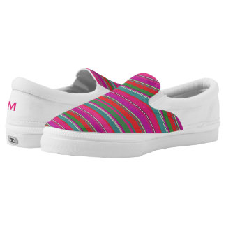 Colorful Girly Stripes Zipz Slip On Shoe Printed Shoes