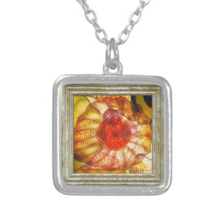 Colorful Glass Abstract Silver Plated Necklace