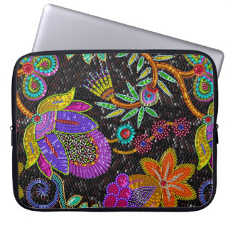 Colorful Glass Beads Retro Large Floral Design Laptop Sleeve