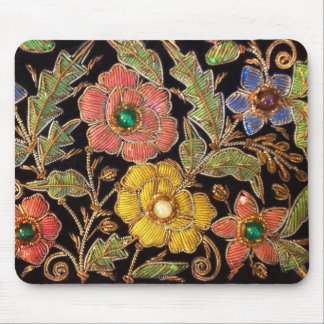 Colorful Glass Beads Vintage Floral Design Mouse Pad