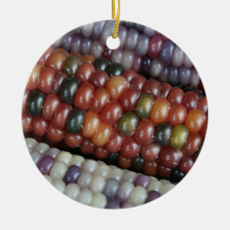 Colorful Glass Gem Corn on the Cob Ceramic Ornament