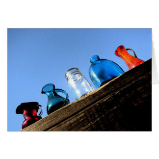 Colorful Glass Jars on Wood Blank Note Card