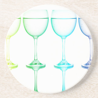 Colorful glasses in front of white background coaster