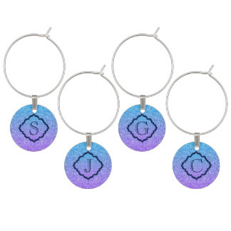 Colorful Glitter And Sparkles Pattern Wine Charm