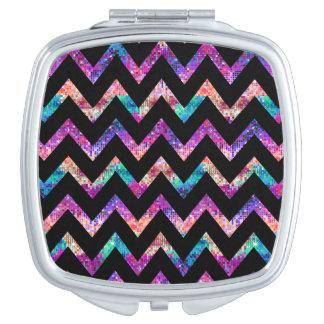 Colorful Glitter & Black Chevron Geometric Pattern Makeup Mirrors