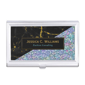 Colorful Glitter & Black Marble Business Card Holder