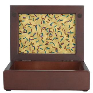 Colorful Glitter Confetti Gold Keepsake Box