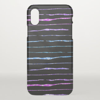 Colorful Glitter Crazy Lines Pattern iPhone X Case