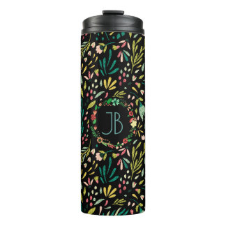 Colorful Glitter Cute Flowers Seamless Pattern Thermal Tumbler