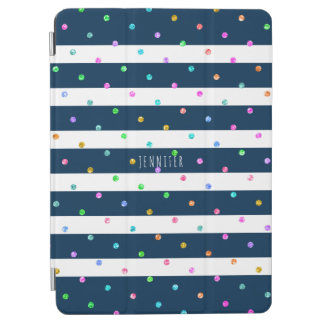 Colorful Glitter Dots Blue & White Stripes iPad Air Cover