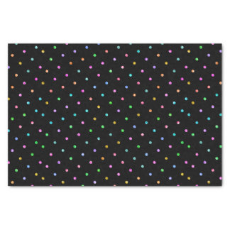 Colorful Glitter Dots Pattern On Black Tissue Paper