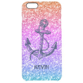 Colorful Glitter Gradient Nautical Boat Anchor Clear iPhone 6 Plus Case
