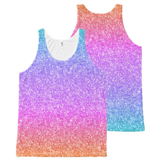 Colorful Glitter Gradient Texture All-Over Print Singlet