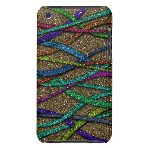 Colorful Glitter Lines Barely There iPod Case