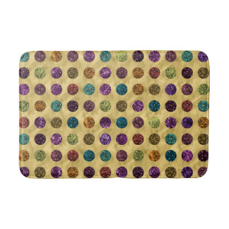 Colorful Glitter Polka Dots Gold Bath Mat