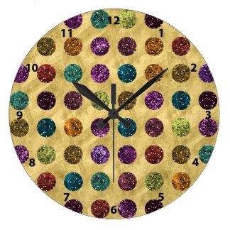 Colorful Glitter Polka Dots Gold Clocks