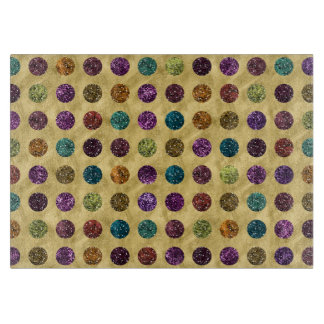 Colorful Glitter Polka Dots Gold Cutting Board