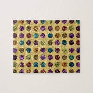 Colorful Glitter Polka Dots Gold Jigsaw Puzzle