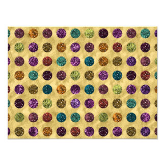 Colorful Glitter Polka Dots Gold Photo Print