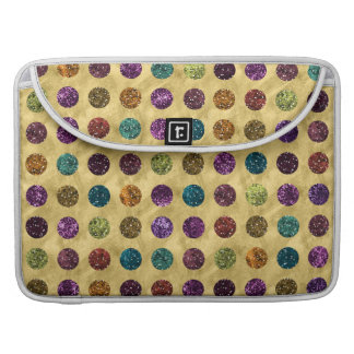 Colorful Glitter Polka Dots Gold Sleeves For MacBook Pro
