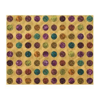 Colorful Glitter Polka Dots Gold Wood Prints