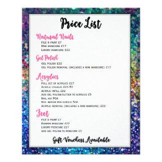 Colorful Glitter Price List Nails Services 11.5 Cm X 14 Cm Flyer