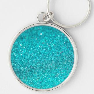 Colorful Glitter Shiny Diamonds Silver-Colored Round Key Ring