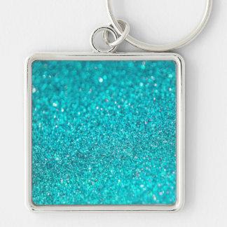 Colorful Glitter Shiny Diamonds Silver-Colored Square Key Ring